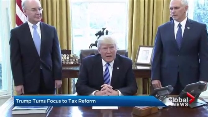 Image result for images of president introducing tax reform bill