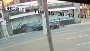 Surveillance video shows two-vehicle crash that led to a gas leak in midtown Toronto