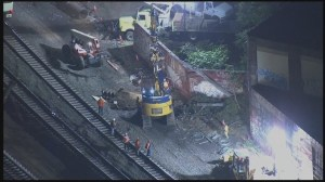 RAW: Derailed train car removed from Philadelphia site