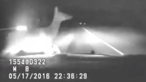 Caught on camera: Montana police officer collides with elk (01:08)