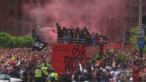 City of Toronto celebrates Toronto Raptors historic NBA win with parade downtown