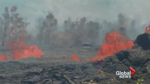 Lava spews from fissure 17 at Kilauea volcano in Hawaii
