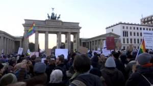 Anti-Trump protest at Berlin's Brandenburg Gate