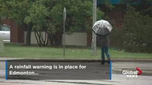 Rainfall warning in place for Edmonton, parts of west-central Alberta