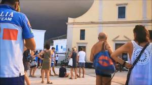 People gather in Stromboli after volcanic eruption