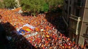 Tens of thousands demonstrate opposing Catalonia independence