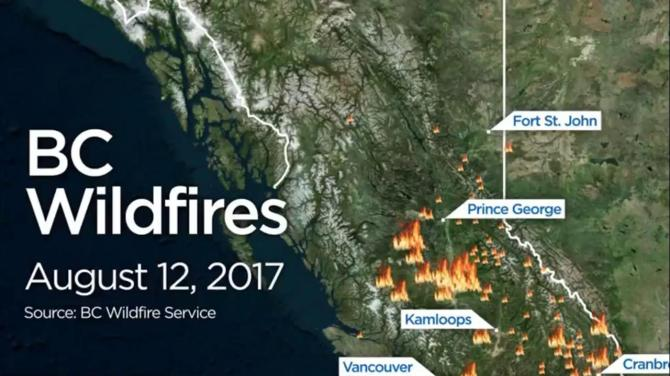 B C Wildfires Map 2018 Current Location Of Wildfires Around The