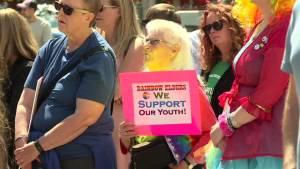 Work begins on permanent Trans, Pride flag crosswalks in downtown Calgary