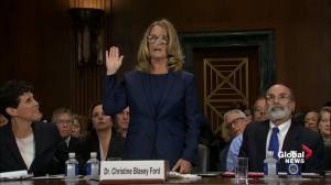 Dr. Christine Blasey Ford sworn in before Senate testimony