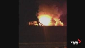 Semi rolls, catches fire south of Leduc