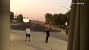 Screaming man ignores tazer, chases after police officer in California