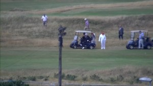 Trump takes to the golf green in Scotland during stay at Turnberry golf course