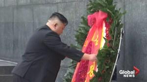 North Korea's Kim Jong Un lays wreath at war memorial in Vietnam