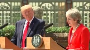 Trump criticizes May, meets the Queen for tea
