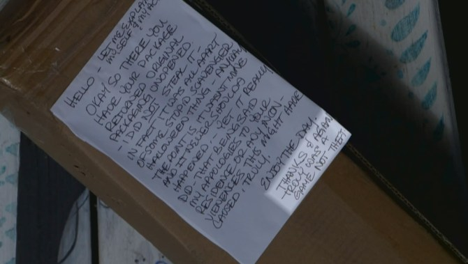 Porch pirate or prank? Langley woman's package stolen, then returned with apologetic note