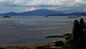 Aerials view of oil slick spotted in English Bay