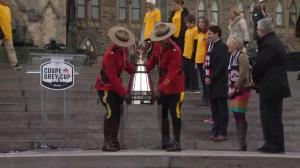 Grey Cup arrives on Parliament Hill