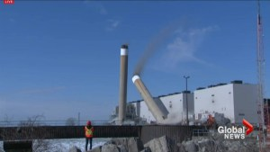 Twin chimneys demolished at Nanticoke station near Lake Erie
