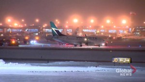 Emergency crews on scene after WestJet flight leaves Toronto airport runway, comes to stop on grass