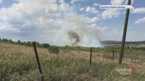 Viewer footage captures large fire near Cochrane