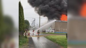 Large fire erupts at Chilliwack business