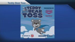 Tossing teddy bears at the Moose game