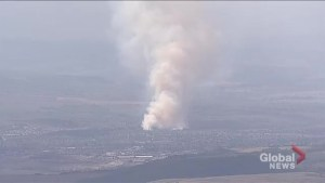 Global1 captures footage of wildfire burning near Cochrane
