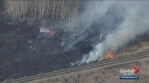 Grass fire east of Calgary keeps firefighters busy