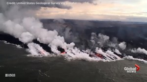 Helicopter footage captures lava from Kilauea volcano pouring into the Pacific Ocean