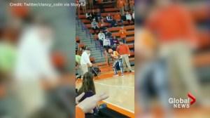 Student wins US$10K sinking golf shot on basketball court