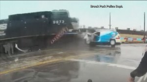 Caught on Camera: Man escapes van seconds before train demolishes vehicle