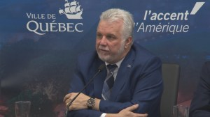 Quebec Premier Philippe Couillard responds to questions on whether he think François Legault is racist
