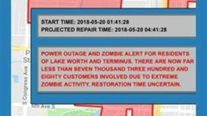 Zombie warning issued in Florida city during power outage, city apologizes for mistake