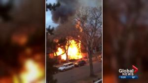 Firefighters battle large fire just north of downtown Edmonton