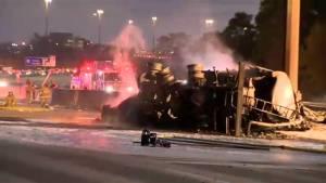 Tanker truck smoulders on Highway 407 after fatal crash