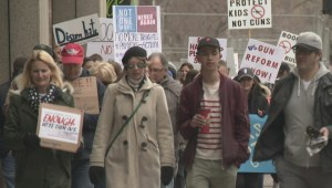 Protesters voice their anger over gun laws at March for Our Lives in Calgary