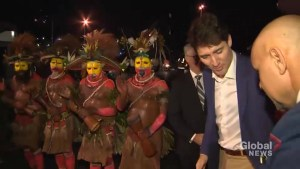 Trudeau receives official greeting on arrival to Papua New Guinea
