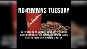 No Tims Tuesday? Support grows for boycott of popular coffee chain