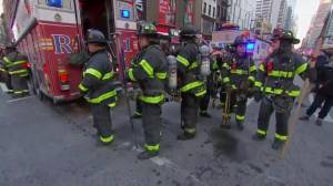 Police, firefighters crowd 42nd Street and 8th Avenue after explosion