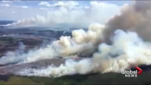 Aerial video shows wildfires burning in northwestern Ontario