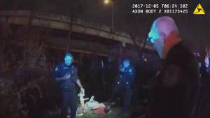 Body cam shows truck driver falling 40 feet over bridge after resisting arrest  and lives (01:35)