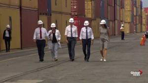 Justin Trudeau tours Port of Montreal with trade minister, key EU trade figures