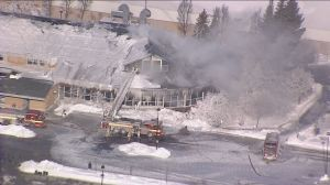 Fire crews continue battle with 3-alarm fire at Agincourt Recreation Centre