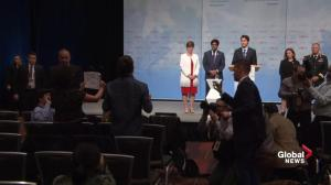 Trudeau peacekeeping announcement interrupted by pipeline protesters