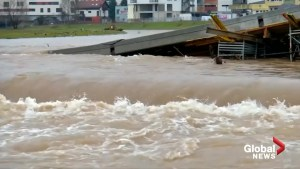 Bridge collapses in Bosnia after melting snow and rain cause heavy flooding