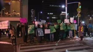 RAW: Protesters clash outside Bill Cosby show in Hamilton
