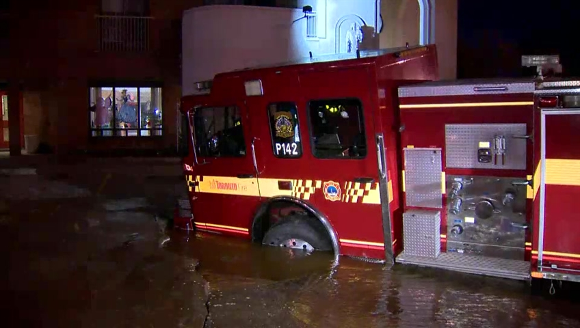 Toronto fire truck responds to watermain break, ends up in