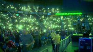 SaskTel Centre glows as crowd turn on cell phones lights at Humboldt Broncos benefit concert