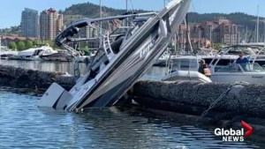 No injuries after boat becomes vertical on Okanagan Lake
