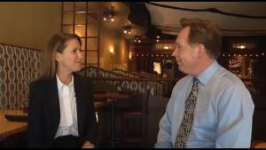 Ontario PC leadership candidate Caroline Mulroney talks about her campaign with CKWS News anchor Bill Hutchins during a stop in Kingston, Ont.